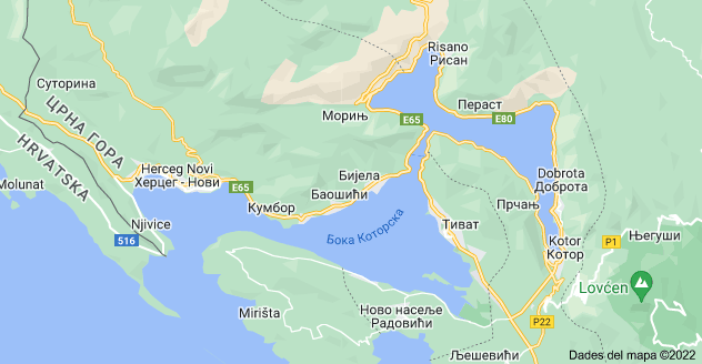 Mapa: Bay of Kotor